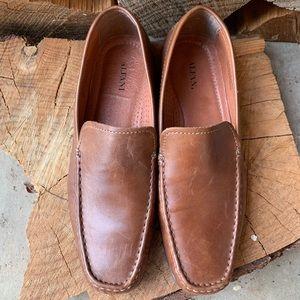 Alfani Java Brown Leather Loafer Shoes